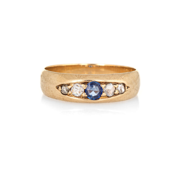 Antique Victorian Gypsy Band Diamond Sapphire 14k Yellow Gold Sz 8 Vintage Ring