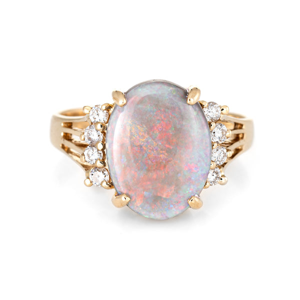 Opal Diamond Ring Vintage 14k Yellow Gold Oval Cocktail Jewelry Red Green Orange