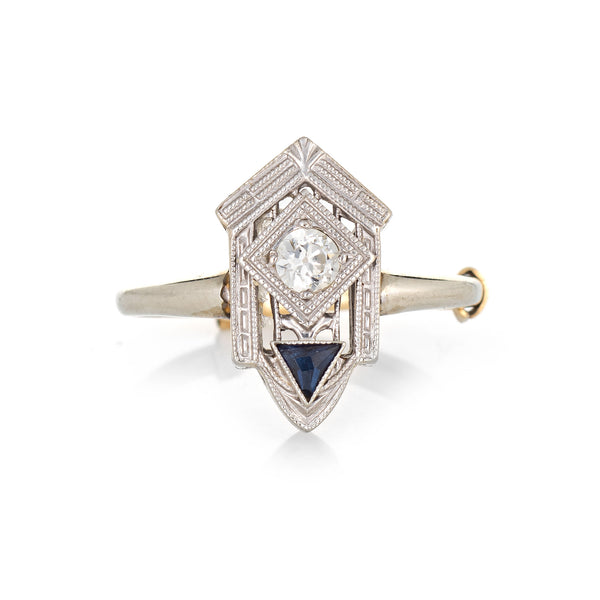 Vintage Art Deco Diamond Sapphire Ring 18k White Gold Fine Antique Jewelry 6.25