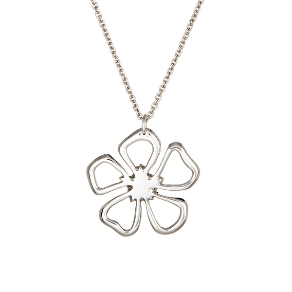 Tiffany & Co Flower Necklace Sterling Silver Estate Fine Jewelry 16