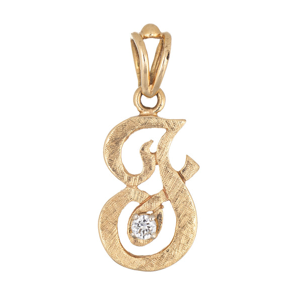 Letter F Diamond Pendant Vintage 14k Yellow Gold Florentine Finish Old Cursive