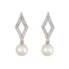 Mikimoto Diamond Cultured Akoya Pearl Earrings 18k White Gold Estate Triangle