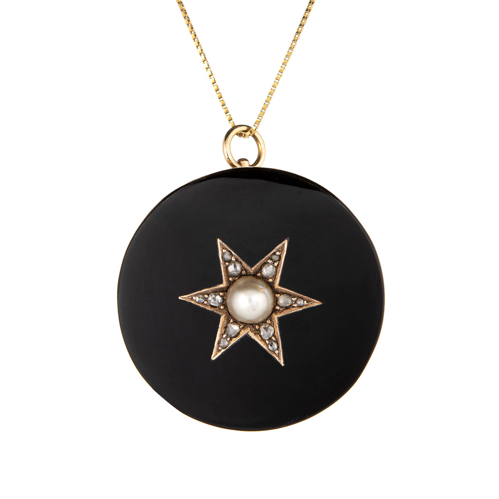 Antique Victorian Star Pendant Onyx Diamond Pearl Vintage 14k Yellow Gold Fine