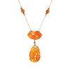 Vintage Art Deco Carved Carnelian Necklace Drop 14k Yellow Gold Antique Jewelry
