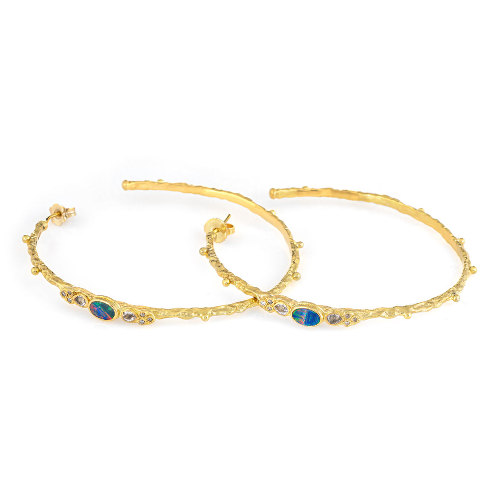 Armenta Large Hoop Earrings Opal Estate 18k Yellow Gold 2.25