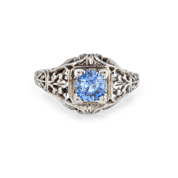 Vintage Art Deco Cornflower Blue Sapphire Ring Antique 18k White Gold Filigree