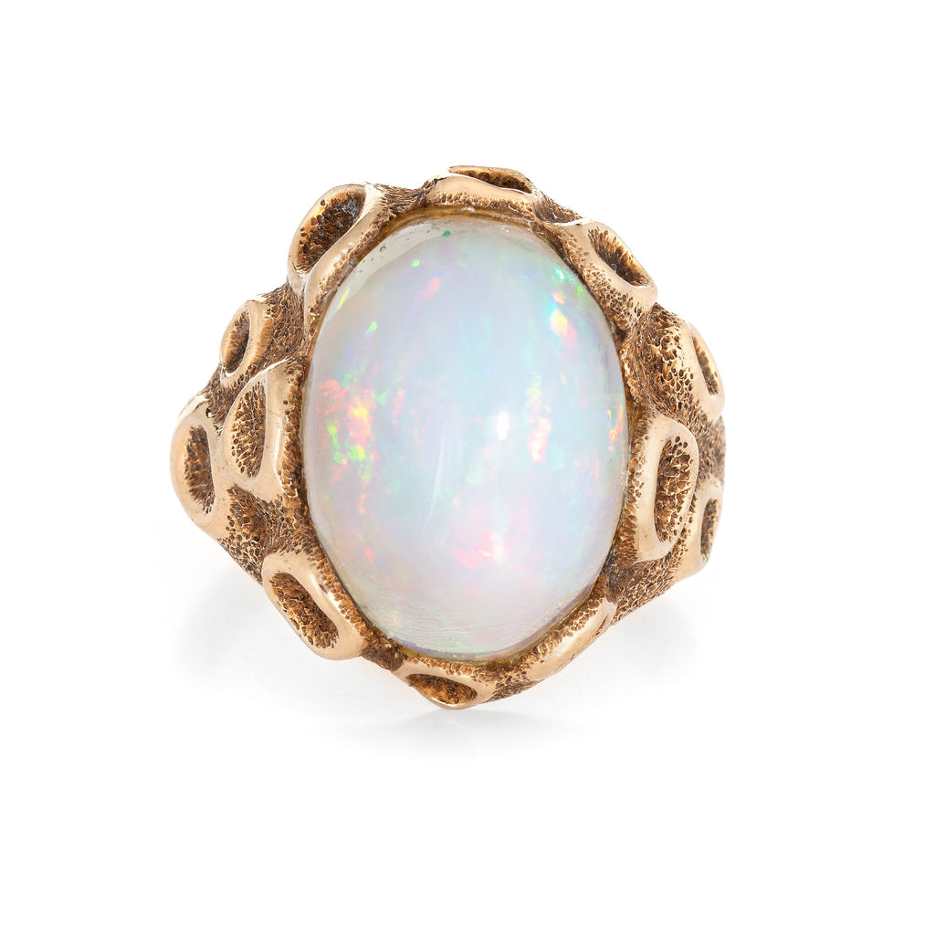Vintage Large Fiery Opal Ring 1970s 14k Yellow Gold Sz 6.5 Estate Fine Jewelry