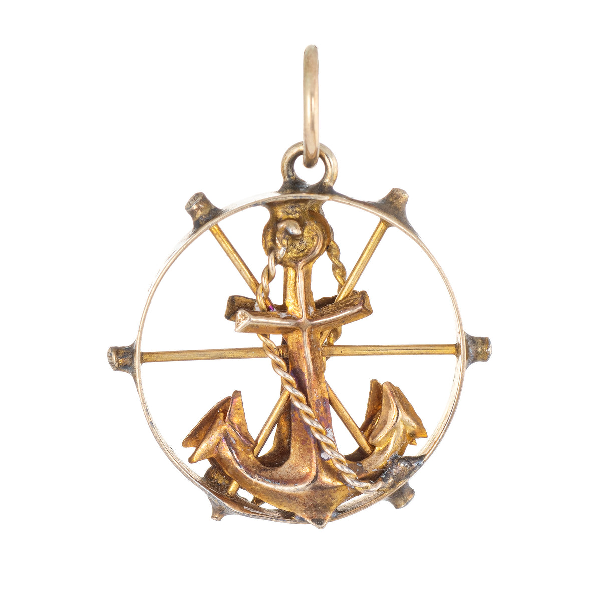 14K Solid Yellow Gold Anchor Pendant Singapore Chain Necklace Set Mariner Nautical Rope Charm