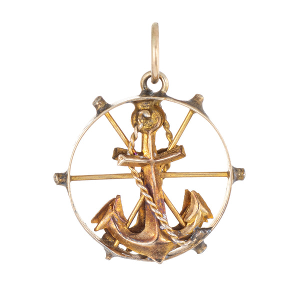 Vintage Anchor Charm Pendant 14k Yellow Gold Nautical Jewelry Small Round Wheel