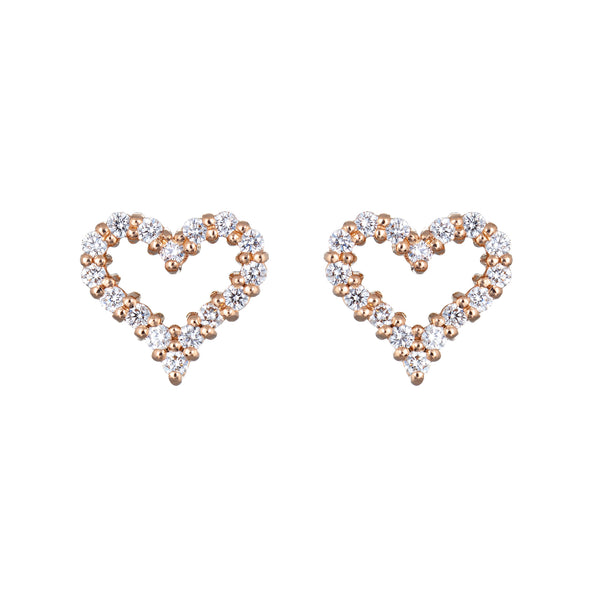 Tiffany & Co Diamond Heart Earrings 18k Rose Gold Extra Mini Estate Jewelry