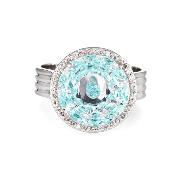 Vianna Brasil Paraiba Tourmaline Diamond Ring Estate 18k White Gold Round 7