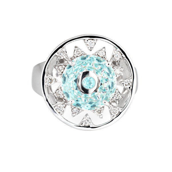 Vianna Brasil Paraiba Tourmaline Diamond Ring Estate 18k White Gold Round 6.75