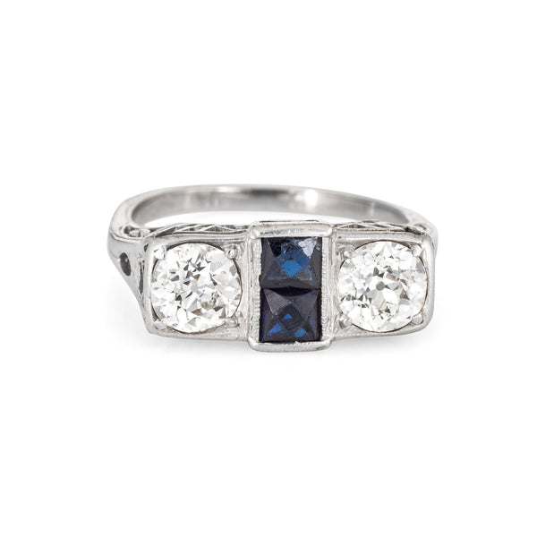 Vintage Art Deco Double Diamond Ring Sapphire 14k White Gold Antique Jewelry