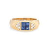 Sapphire Diamond Band Vintage 18k Yellow Gold Pinky Ring Estate Fine Jewelry
