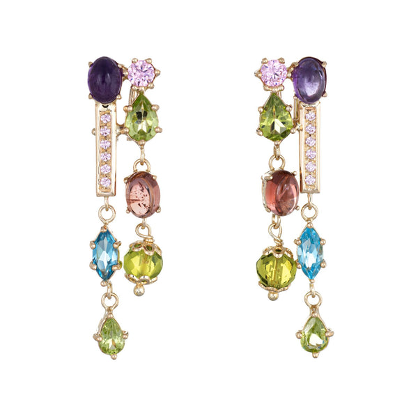 Multi Gemstone Drop Earrings Estate 14k Yellow Gold Peridot Amethyst Blue Topaz