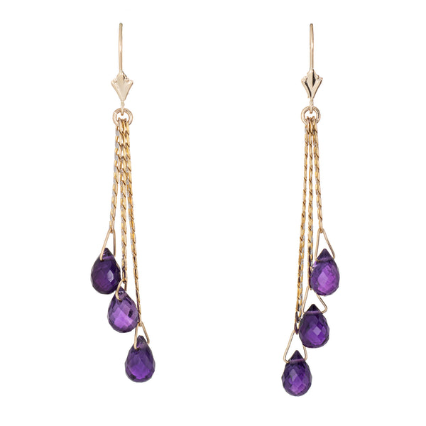 Amethyst Briolette Earrings Vintage 14k Yellow Gold Three Tier Drop Chain Link