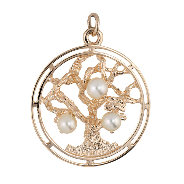 Tree of Life Pearl Pendant Charm Vintage 14k Yellow Gold Fine Jewelry Round