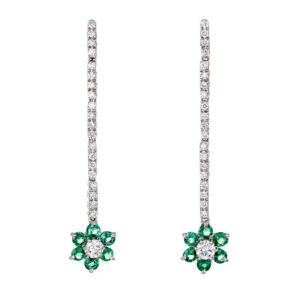 Emerald Diamond Flower Drop Earrings Estate 18k White Gold Long Dangle Vintage