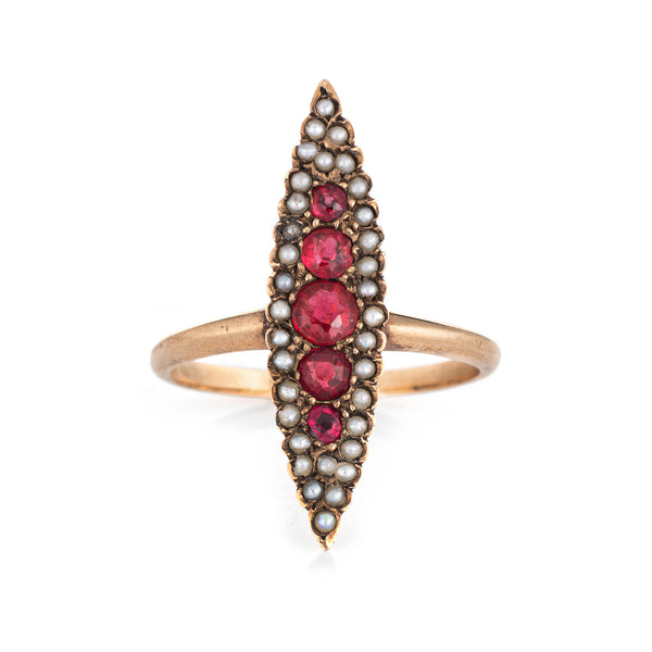 Antique Victorian Navette Ring Ruby Doublet Seed Pearl 14k Yellow Gold Vintage