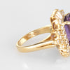 Amethyst Diamond Ring Vintage 14k Yellow Gold Large Cocktail Ballerina Jewelry
