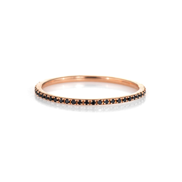 Micro Pave Black Diamond Eternity Ring Sz 7 Estate 14k Rose Gold Stacking Band