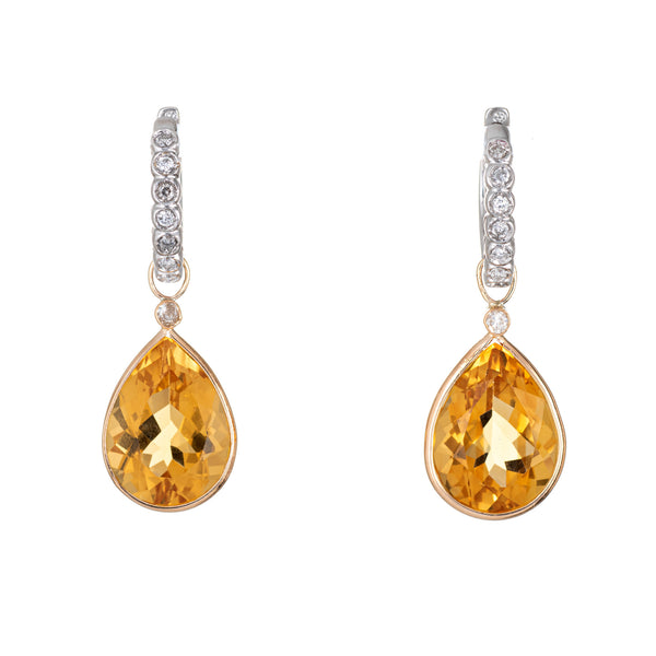 Golden Topaz Diamond Earrings Detachable Drops 14k White Gold Estate Pear Cut