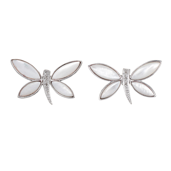 Butterfly Earrings Diamond Mother of Pearl Estate 14k White Gold Fine Jewelry