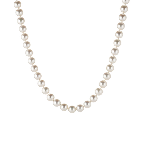Tiffany & Co Essential 7.5mm Cultured Pearls Necklace Platinum Clasp Long 31
