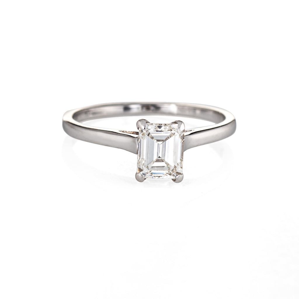 Vintage 0.75ct Diamond Engagement Ring Emerald Cut 14k White Gold Fine Jewelry