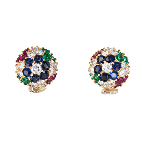 Gemstone Cluster Earrings Dome Vintage 18k Yellow Gold Diamond Sapphire Ruby