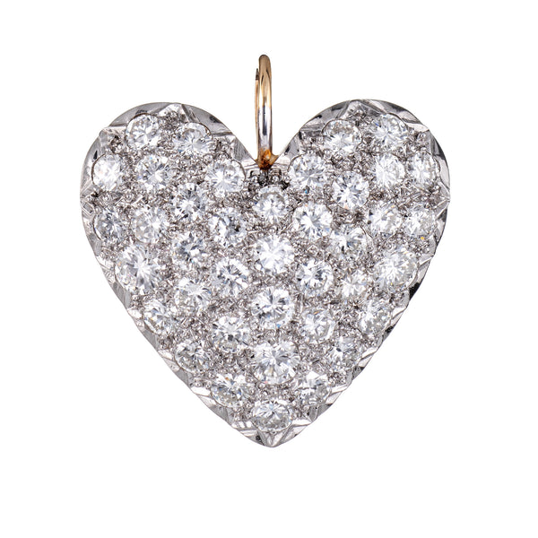 2ct Pave Diamond Heart Pendant Vintage 14k Yellow Gold Estate Fine 1 Inch Large