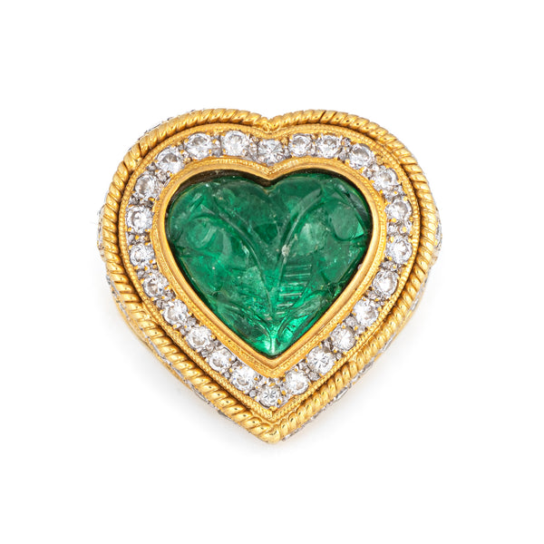 Carved Emerald Diamond Ring Vintage 18k Yellow Gold Heart Cocktail Jewelry Sz 7