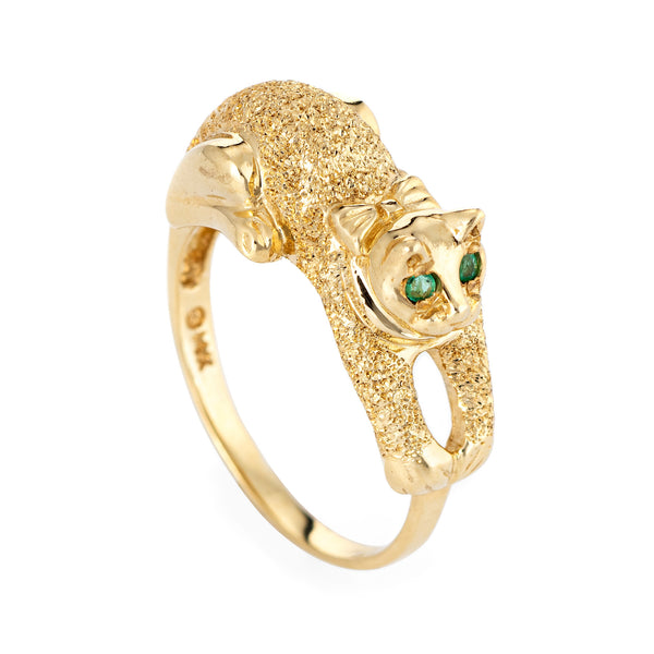 Kitty Cat Ring Emerald Eyes Estate 14k Yellow Gold Sz 6 3/4 Fine Animal Jewelry