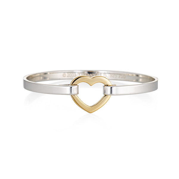 Tiffany & Co Heart Bracelet 2003 Sterling Silver 18k Yellow Gold Estate Jewelry