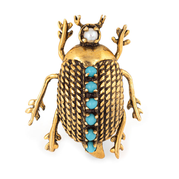 Beetle Brooch Vintage 60s Turquoise Pearl 14k Yellow Gold Estate Bug Jewelry