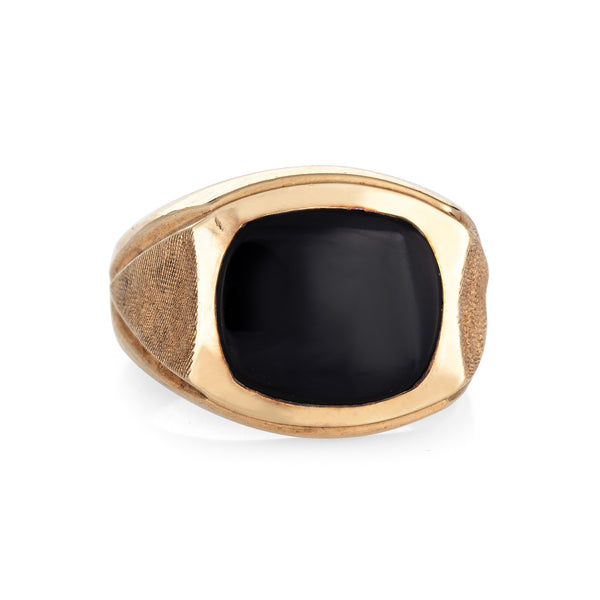 Men's Inlaid Onyx Ring Vintage 10k Yellow Gold Sz 9 Estate Fine Jewelry