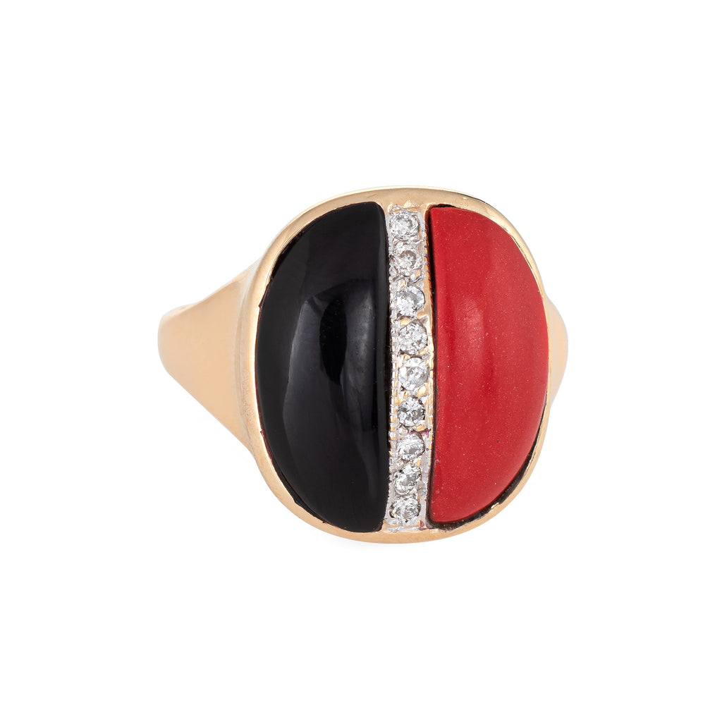 Red Coral Onyx Diamond Ring Vintage 14k Yellow Gold Small Oval Cocktail Jewelry