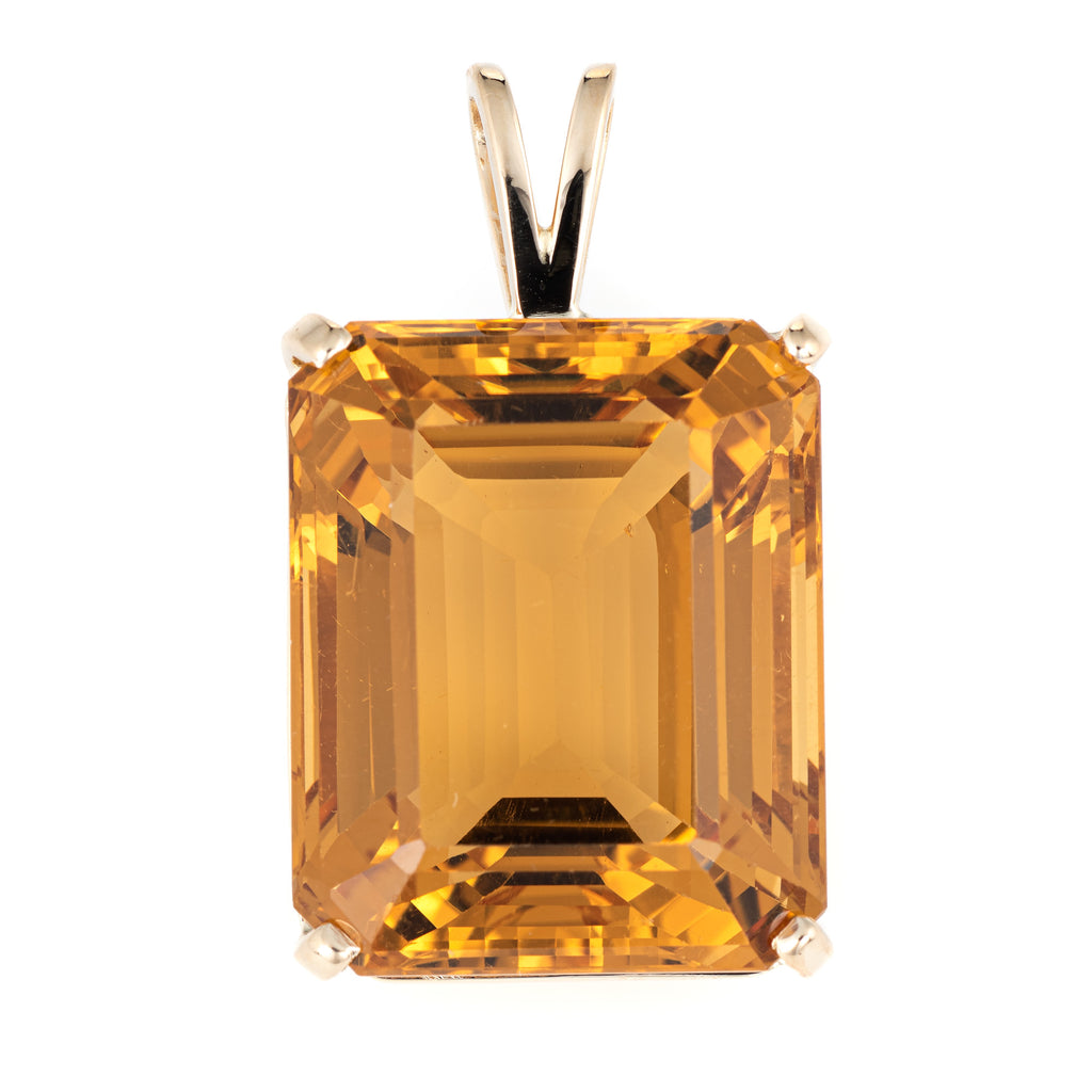 Large 37ct Citrine Pendant Vintage 14k Yellow Gold Emerald Cut Estate Jewelry