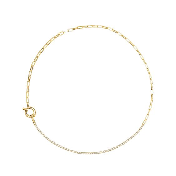 18K Gold Plated Chain CZ Tennis Necklace