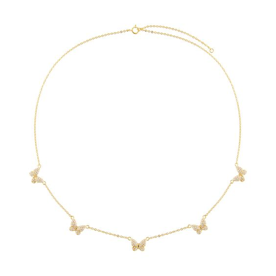 14K Gold Vermeil CZ Butterfly Charms Necklace