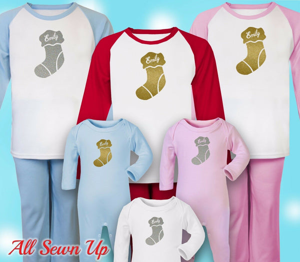 Personalised Christmas Pyjamas - 100% cotton xmas gift. Christmas eve - Stocking