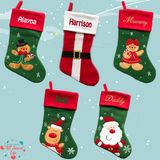 Luxury Personalised Christmas Stocking -  Embroidered or Printed - Santa