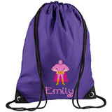 Super Hero Embroidered Rucksack/PE bag