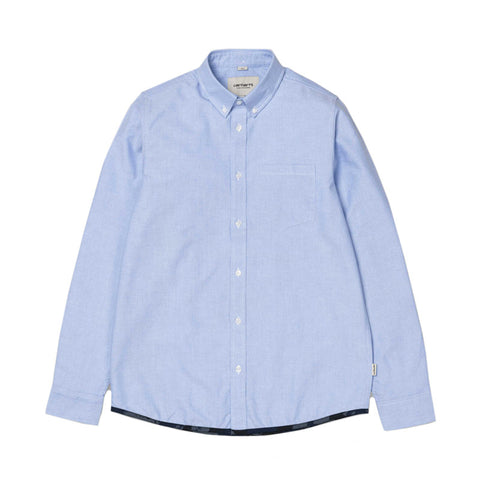 Carhartt WIP LS Buster Shirt - Bleach / Camo Painted Blue (rinsed) - The Class Room boutique