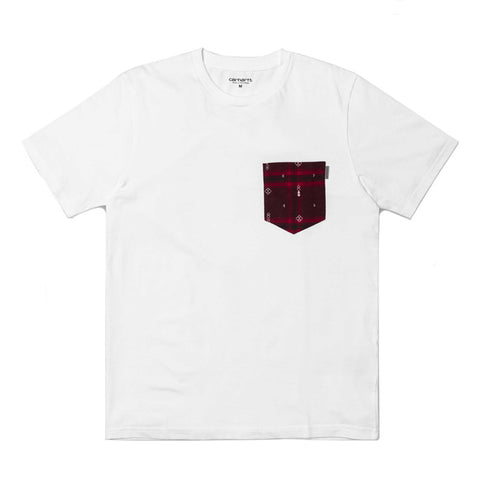 Carhartt WIP SS Lester Pocket T-shirt - White / Carlos Check, Chianti Heather - The Class Room boutique