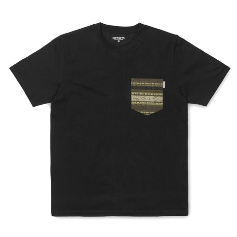 Carhartt WIP SS Lester Pocket T-shirt - Black / Ethnic Print, Green - The Class Room boutique
