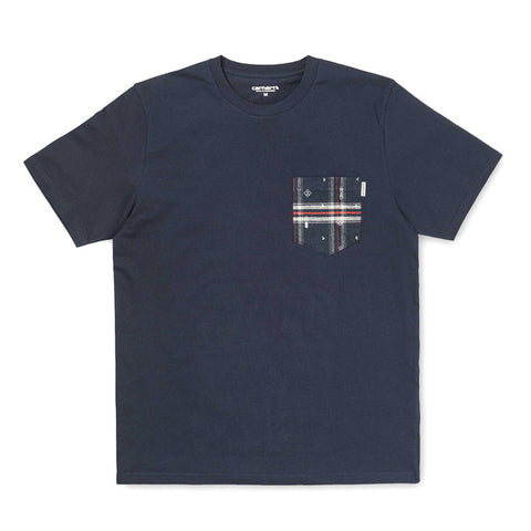 Carhartt WIP SS Lester Pocket T-shirt - Navy / Carlos Check, Jupiter Heather - The Class Room boutique