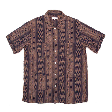 Engineered Garments Camp Shirt - Khaki/Navy Multi Stripe Jacquard - The Class Room boutique