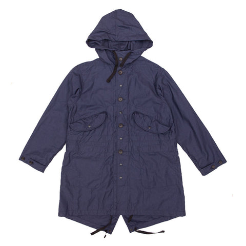 Engineered Garments Highland Parka - Navy Nyco Reversed Sateen - The Class Room - 1
