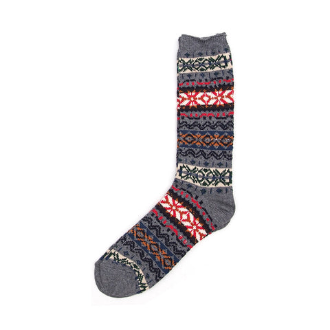 Anonymous Ism Fair Isle Crew Sock - Grey - The Class Room boutique
